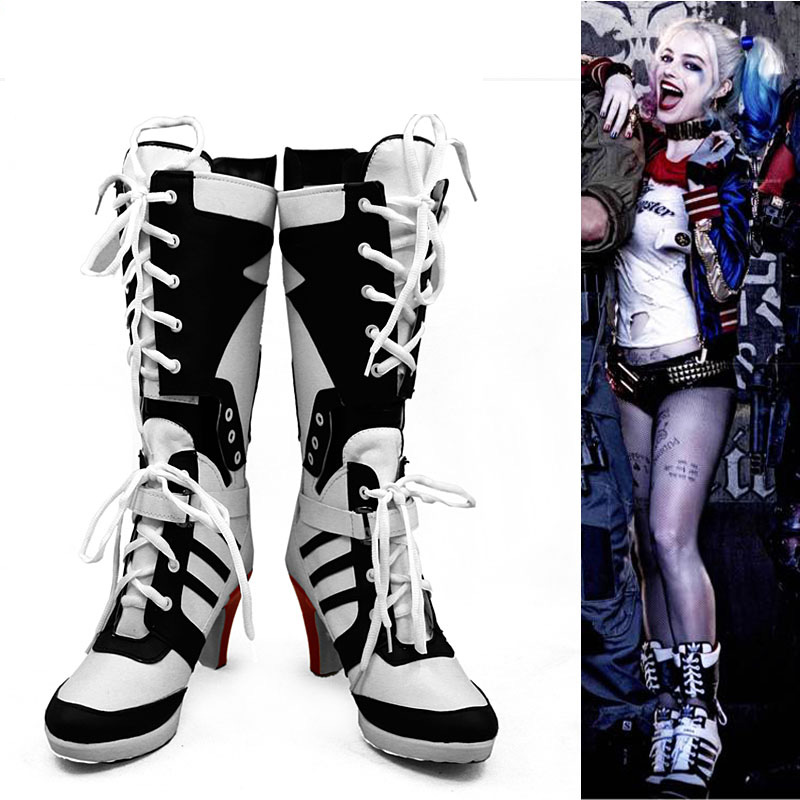separation shoes 731b7 d9df4 US $53.0 10% OFF|Aliexpress.com : Buy Custom Made Joker Harley Quinn  Suicide Squad Boots Shoes Cosplay Scarpe Chaussure Harley Quinn Accessory  from ...