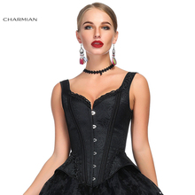 Charmian Womens Vintage Black Wide Shoulder Straps Plastic Bone Shapewear Jacquard Sexy Embroidery Overbust Corset