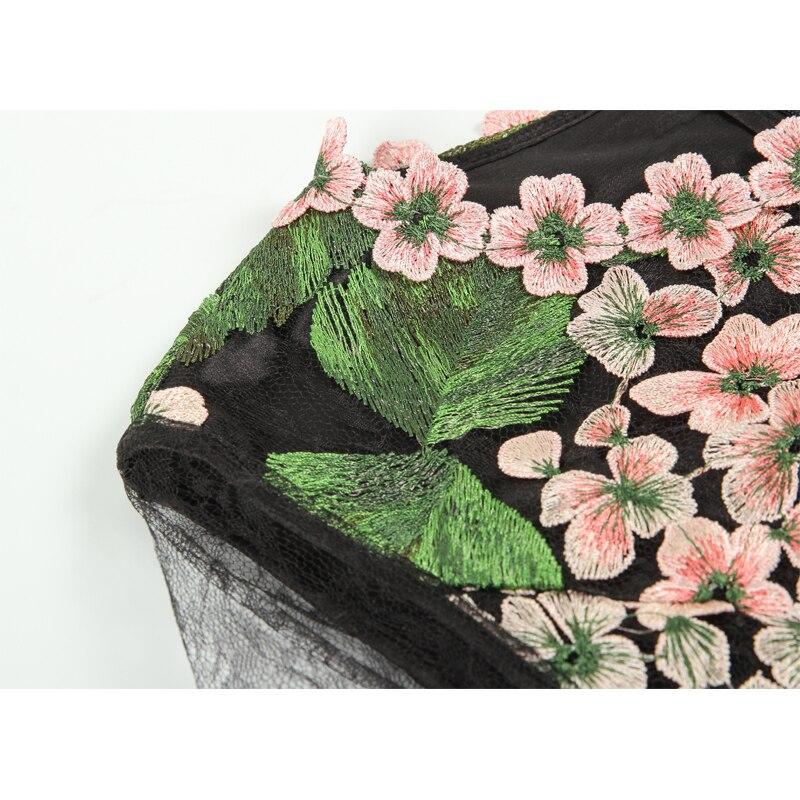 Tulle Femmes Broderie Robe En Doux À Longue Voir Gamme Fleur Midi Noir 2019 Été Printemps Haut De Travers Fête UqzVMpLGS