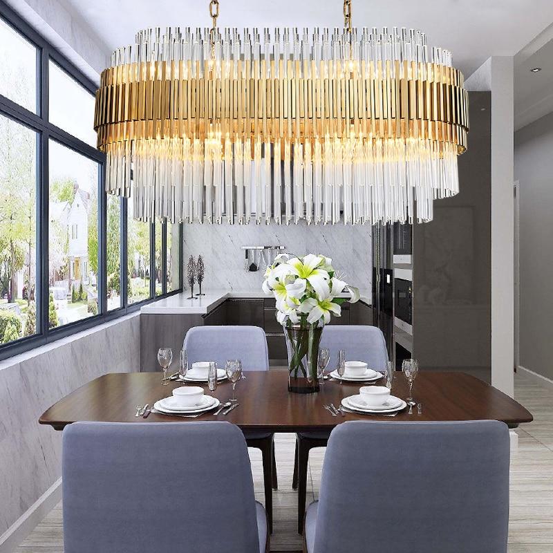 Modern Crystal Chandelier Rectangle Design Gold Chandeliers 3