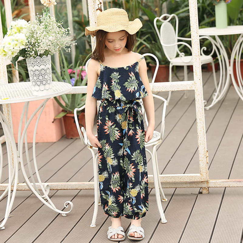 2017 Baby Girls Pineapple Prints Rompers Kids Summer Jumpsuits Kids Girl Cute Sleeveless Overalls Children Playsuit For Teens