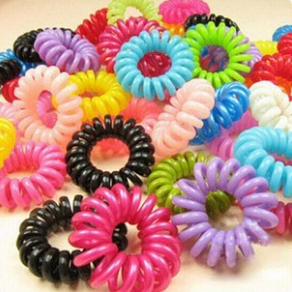 5pcs/lot Hair Band Tie Free Shipping Women Girls Hairbands Telephone Elastic Ponytail Holders For Girl