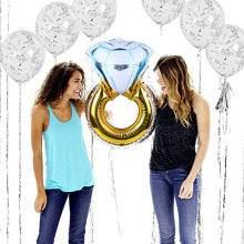 Diamond Ring Balloon för Bridal Shower Bachelorette Hen Party Party Anniversary Wedding Marriage Engagement vuxen födelsedag dekoration