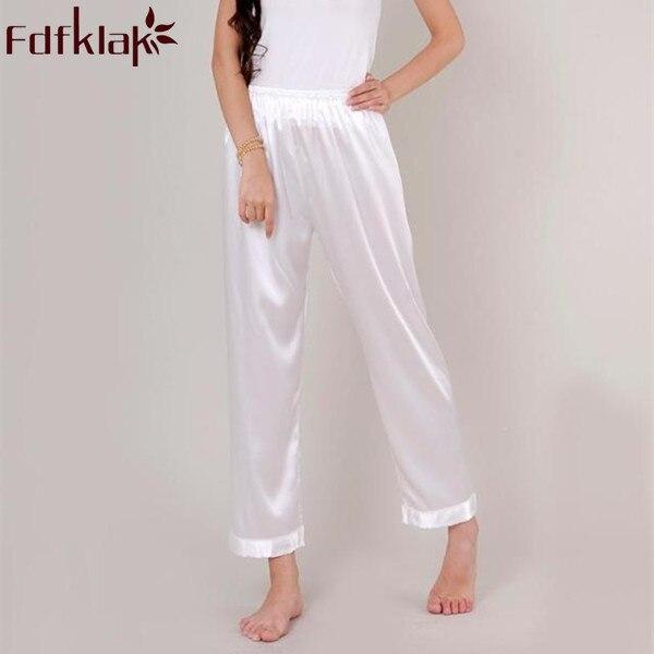 XL XXL XXXL Plus Size Pyjama Bottoms Spring Summer Faux Silk Women Pajama Pant Women's Lounge Pant Red/Black Pyjama TrousersQ335
