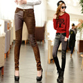 Korean version of casual denim stitching autumn and winter was thin denim trousers female feet was thin outer wear leggings