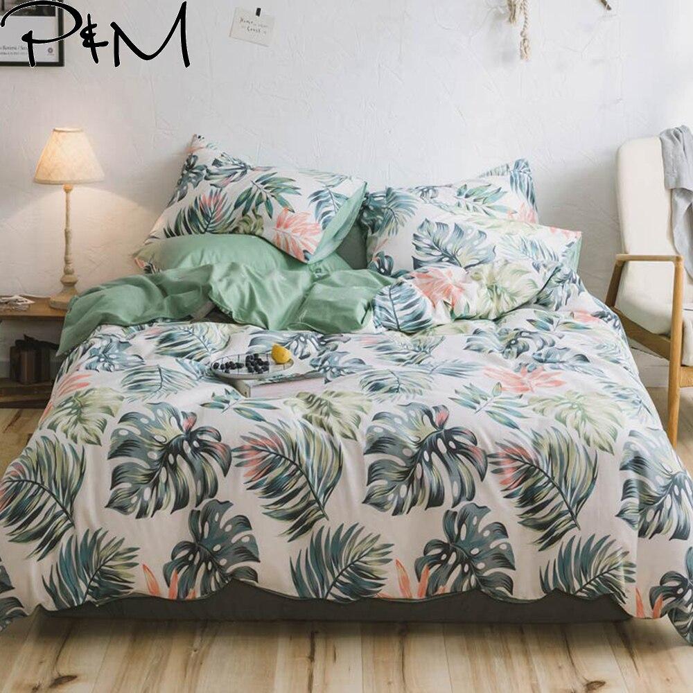 PAPA & MIMA Banana blatt Pflanze Muster bettwäsche sets Baumwolle Twin Doppel Königin größe duvet abdeckung bettlaken kissen bett leinen set-in Bettwäsche-Sets aus Heim und Garten bei  Gruppe 1