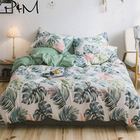 PAPA&MIMA Banana leaf Plant Pattern bedding sets Cotton Twin Double Queen size duvet cover bed sheet pillowcase bed linen set