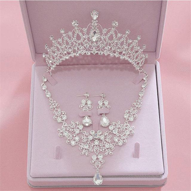 Cổ điển Tiaras Thái Trang Sức Thiết Bridal Wedding Dây Chuyền Bông Tai thiết Phụ Kiện Thời Trang Tóc Crowns Dây Chuyền/Earrings set