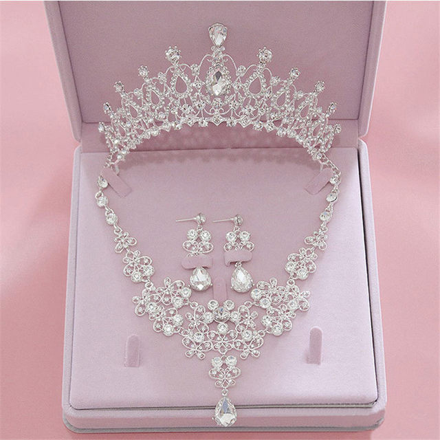 Vintage Tiaras Crown Jewelry Sets Bridal Wedding Necklaces Earrings set Fashion Hair Accessories Crowns Necklaces/Earrings set