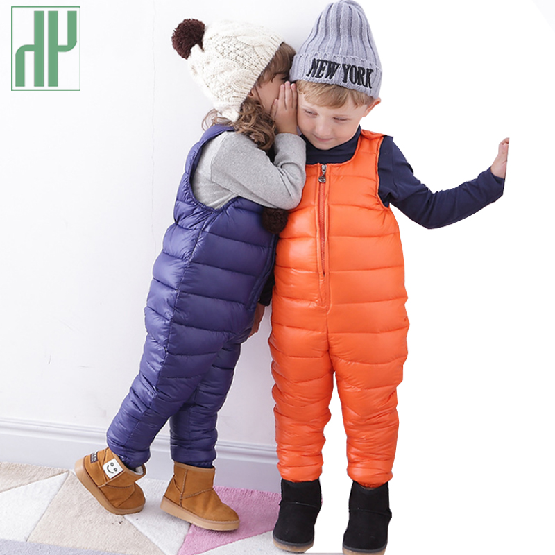 Winter bib overalls kids waterproof trousers down cotton baby boy overalls children girls jumpsuit pants 1