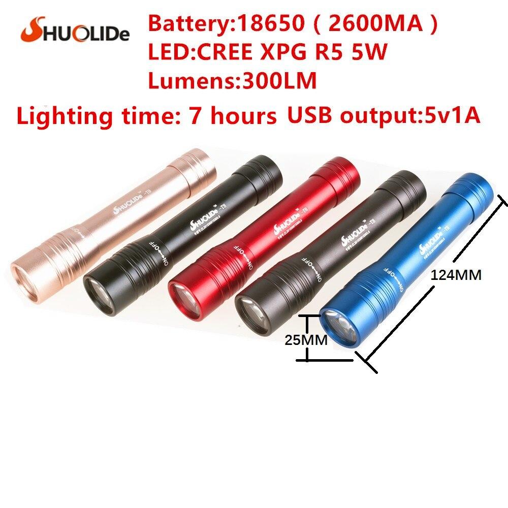 LED zaklamp 5 kleuren USB opladen 5W LED power banklampen vermogen - Draagbare verlichting