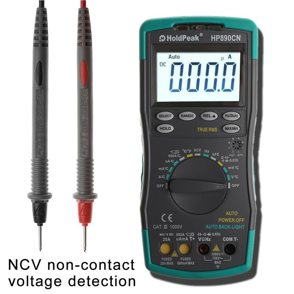 HoldPeak HP-890CN LCD Digital Multimeter DC AC Voltage Current Meter with NCV Detector Temperature Meaurement Auto Range