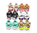 2016 PU Leather Solid Floral Mary Janes Big Bow Baby Girl Princess Moccasins Soft Moccs First Walkers Shoes Footwear 0-2 Years