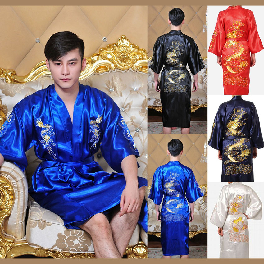 7colors Traditional Japanese Kimono Emboridery Dragon Robe Men Nightgown Yukata Sleepwear Satin Men's Quimono Samurai Male