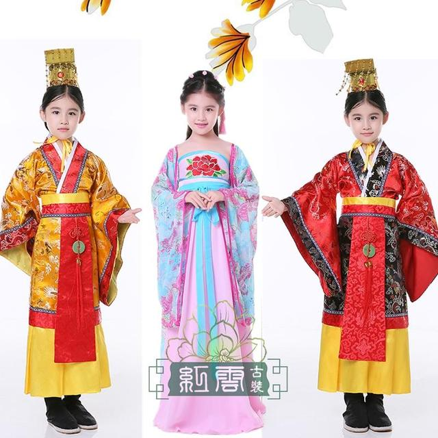e96b9a7ec Girl and boy ancient Chinese traditional national costume Hanfu dress  princess and emperor children cosplay clothing kids