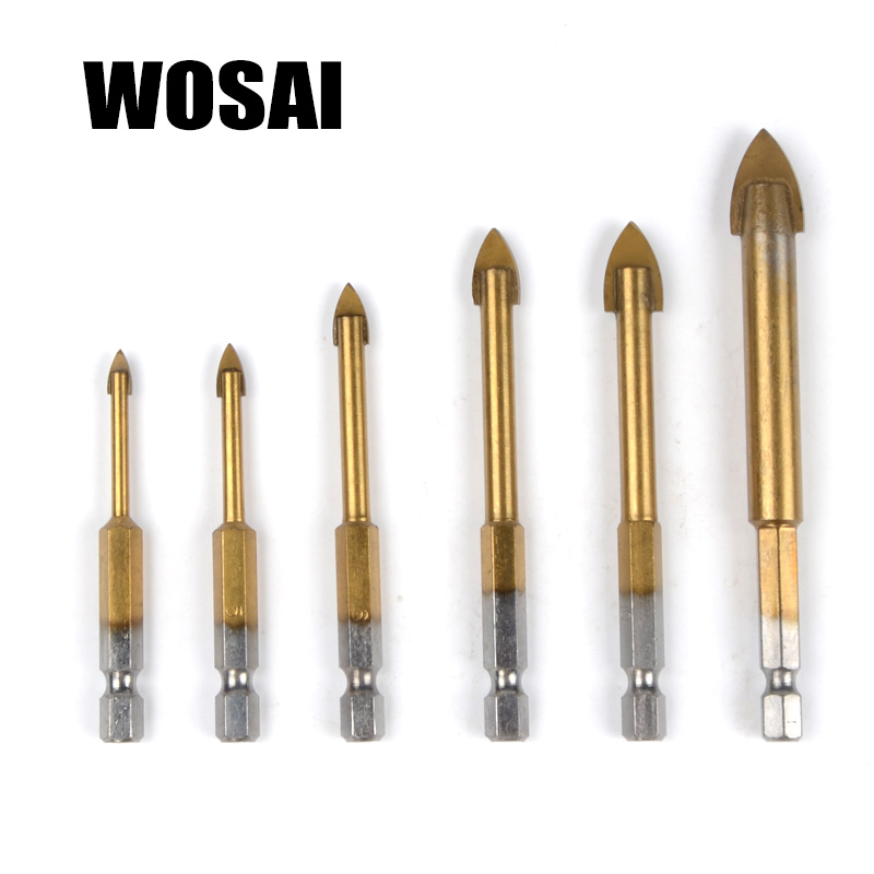 WOSAI Glass Marble Porcelain Spear Head Ceramic Tile Drill Bits Set 6 pcs 4/5/6/8/10/12mm 1/4 Hex Shank Spade Drill Bit 5pcs drywall tungsten carbide drill bit set for wood ceramic tile marble mirror glass w triangle shank power tool 6 6 8 10 12mm