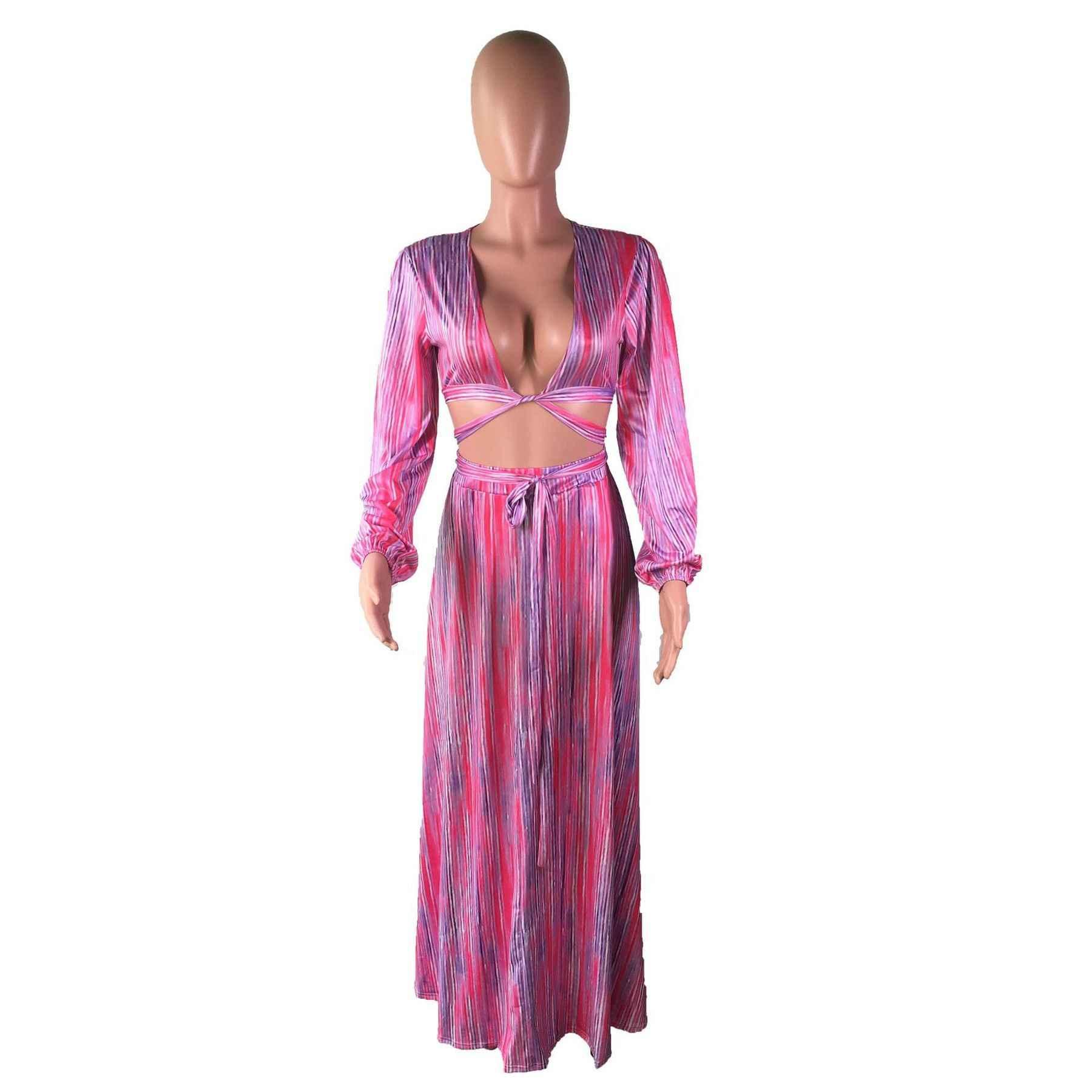 Yaz Vintage Kadınlar Elbise Zarif Streetwear Gevşek Seksi Çizgili Elbise Derin V Boyun Pilili Elbise
