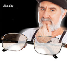 Progressive Bifocal Reading Glasses For Men Anti Blue Light Vintage Gasses Titanium Alloy