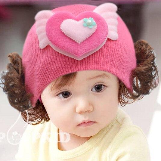 Brand-new 2015 Fashion baby girl winter hat, baby wigs hats, newborn baby  GA65