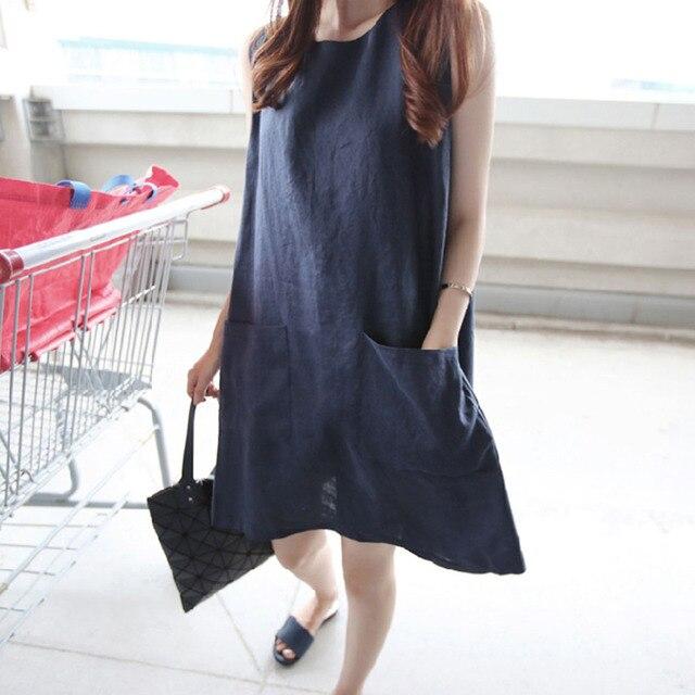 41ace46faf465b Plus Size Women Cotton Linen Maxi Summer Dress Sleeveless Tunic Dress  Pockets O Neck Solid Summer Loose Dress Female Black Pink