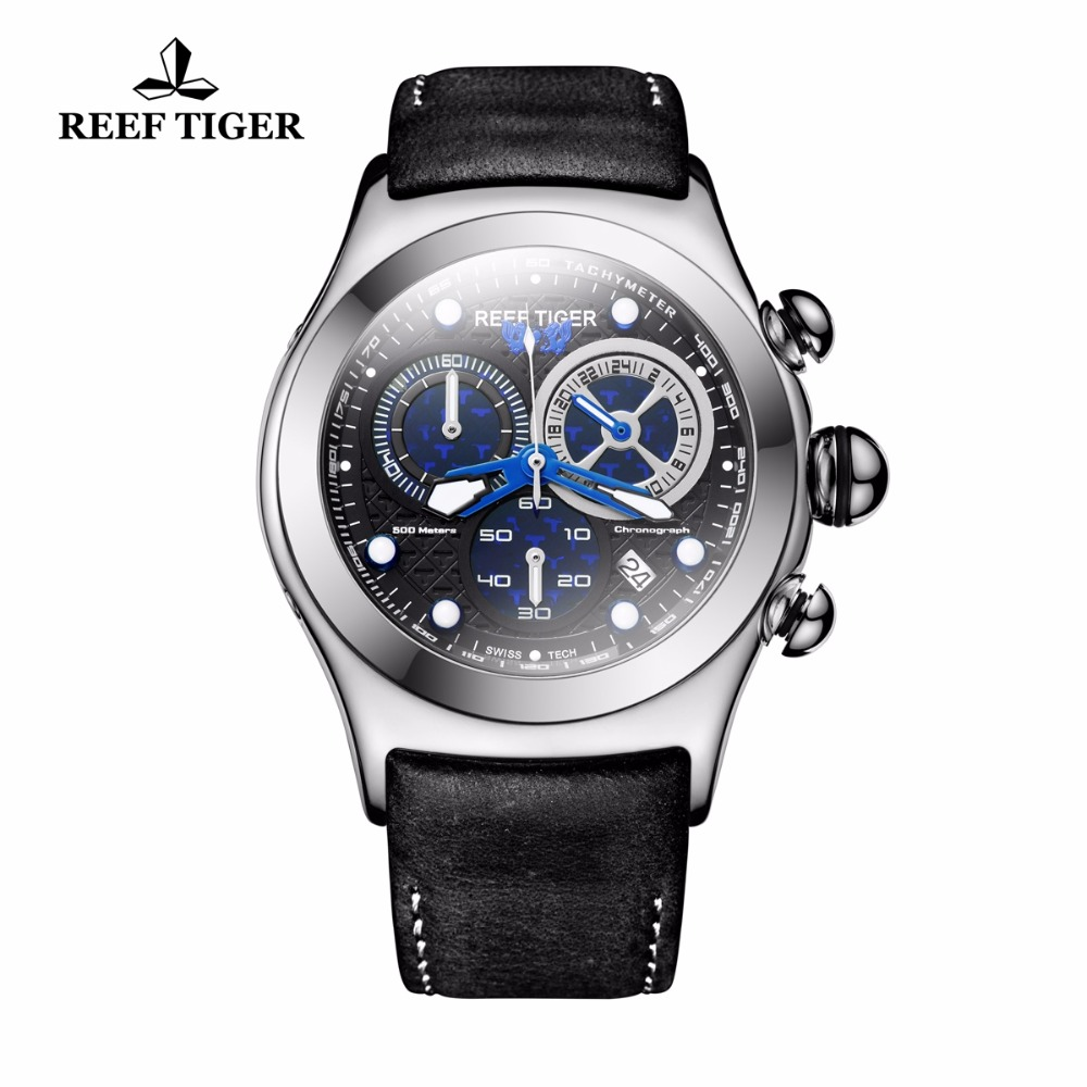 2018 New Reef Tiger/RT Quartz Sport Watches Blue Skeleton Dial Genuine Leather Strap Chronograph Mens Watches RGA782