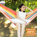 High Strength Portable Hammock 200*80cm Backpacking Hiking Woven Cotton Fabric Tender Green Striped Camping Furniture