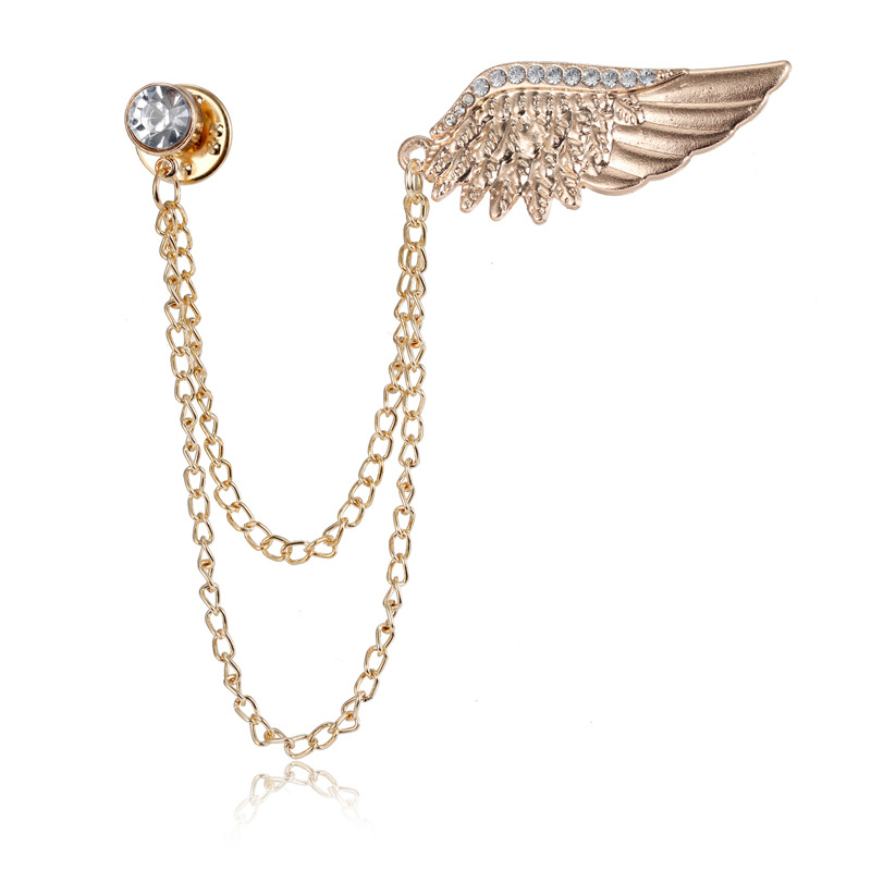 Korean Version Of Angel Wing Brooch Male Inlaid Chain Neckpin Buckle Personality Chest Flower Collar Buckle Female Pin Medal