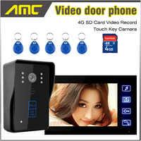 7 pulgadas LCD Monitor vídeo grabación timbre puerta teléfono intercomunicador sistema RFID tarjeta desbloqueo 4G tarjeta SD vdieo la grabación de video de bell