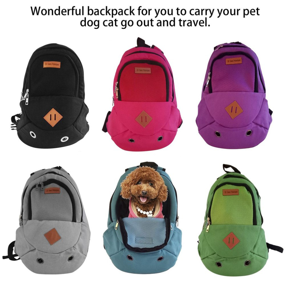 Pet Carrier Shoulders Back Front Pack Dog Cat Travel Bag Mesh Backpack Head out Design Travel Adjustable Shoulder Strap