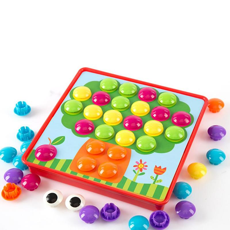 Puzzles Toy Colorful Buttons Assembling Mushrooms Nails Kit   3