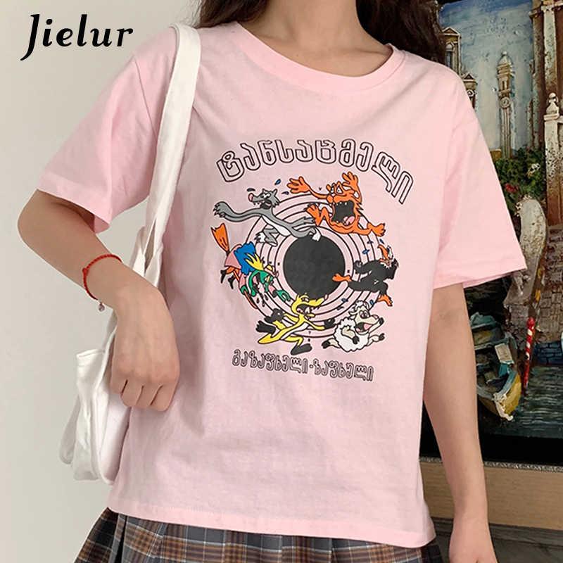 Jielur Ulzzang футболки женские смешной мультяшный принт шикарно простая футболка женщина элегантный дизайн Kpop Летняя женская футболка Топ 2019