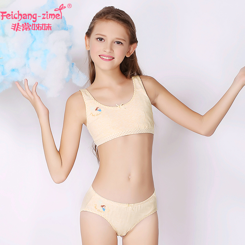Detail Feedback Questions about 2018 Feichangzimei Teenage Girl Underwear  Set Cotton Pink/Gray /Yellow Training Bra Set For Pubescent Girl 100610S on  ...