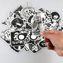 60 pçs/lote Aleatória Adesivo Branco Preto Punk Grafite JDM Etiqueta Legal para o Miúdo Adesivo no Laptop Mala Do Skate Capacete Da Bicicleta