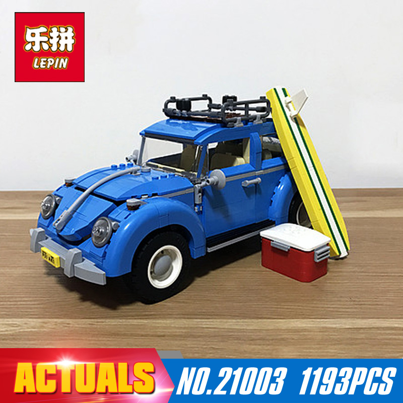 New LEPIN 21003 1193Pcs Creator Series City Car Beetle model Building Blocks Compatible 10252 Blue Technic children toy gift lepin 02012 city deepwater exploration vessel 60095 building blocks policeman toys children compatible with lego gift kid sets