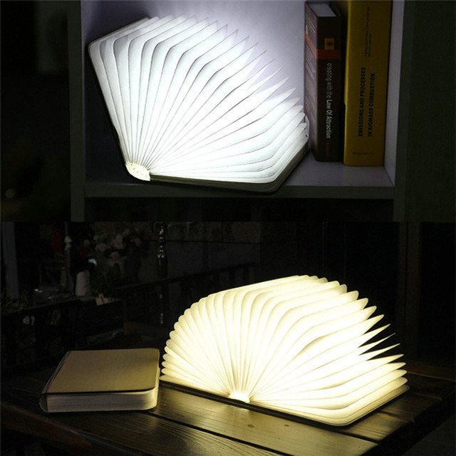Drop Shipping New LED Booklight Wooden Foldable Pages LED Book Shape Night Light White/Warm White Gift Light USB Rechargeable