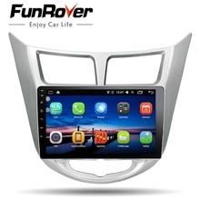 "Funrover 9 ""2 din Android 8.0 Car Dvd Player Per Hyundai Solaris Verna 2011-15 Radio registratore a nastro video Gps WIFI RDS audio usb"
