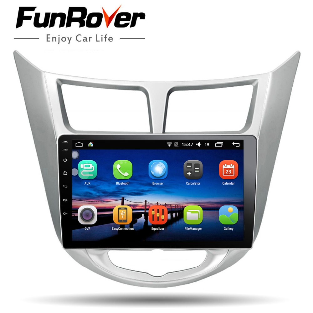 Funrover 9'' 2 din Android 8.0 Car Dvd Player For Hyundai Solaris Verna 2011 15 Radio tape recorder Video Gps WIFI RDS usb audio