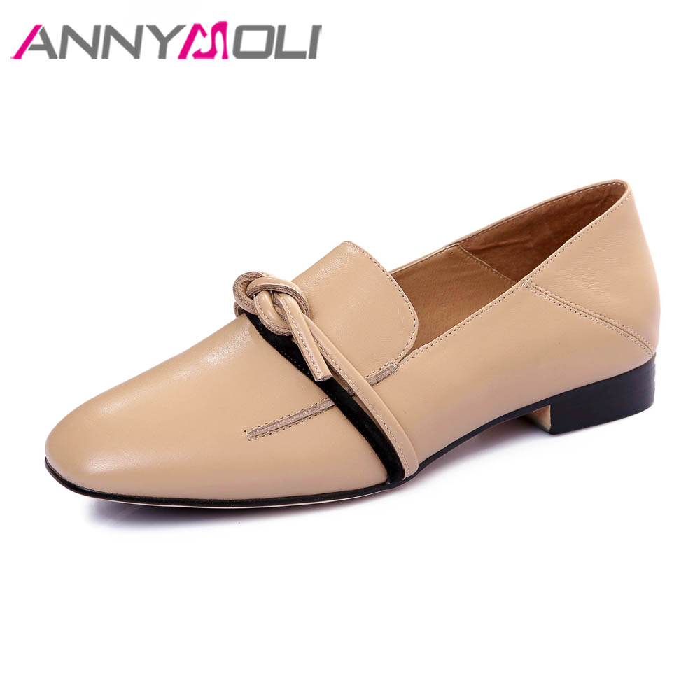 ANNYMOLI Genuine Leather Shoes Women Moccasins Flats Loafers Bow-knot Casual Shoes Spring Slip On Square Toe Leather Shoes Flats pl us size 38 47 handmade genuine leather mens shoes casual men loafers fashion breathable driving shoes slip on moccasins