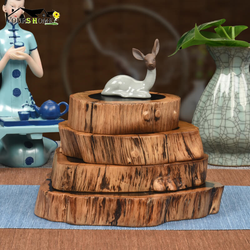 1pcs Length 22-23cm & Height 3cm Noble Ebony Wood Slices Bar Mats Coasters Reclaimed Willow Coaster
