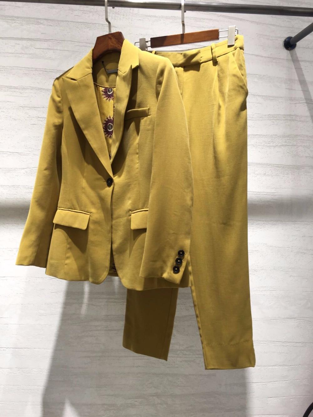 Pièce 2 Blazer Femmes Doublure Ddxgz3 Ensembles Imprime Pantalon Manteau 2019 Nouveau w8Aq0x