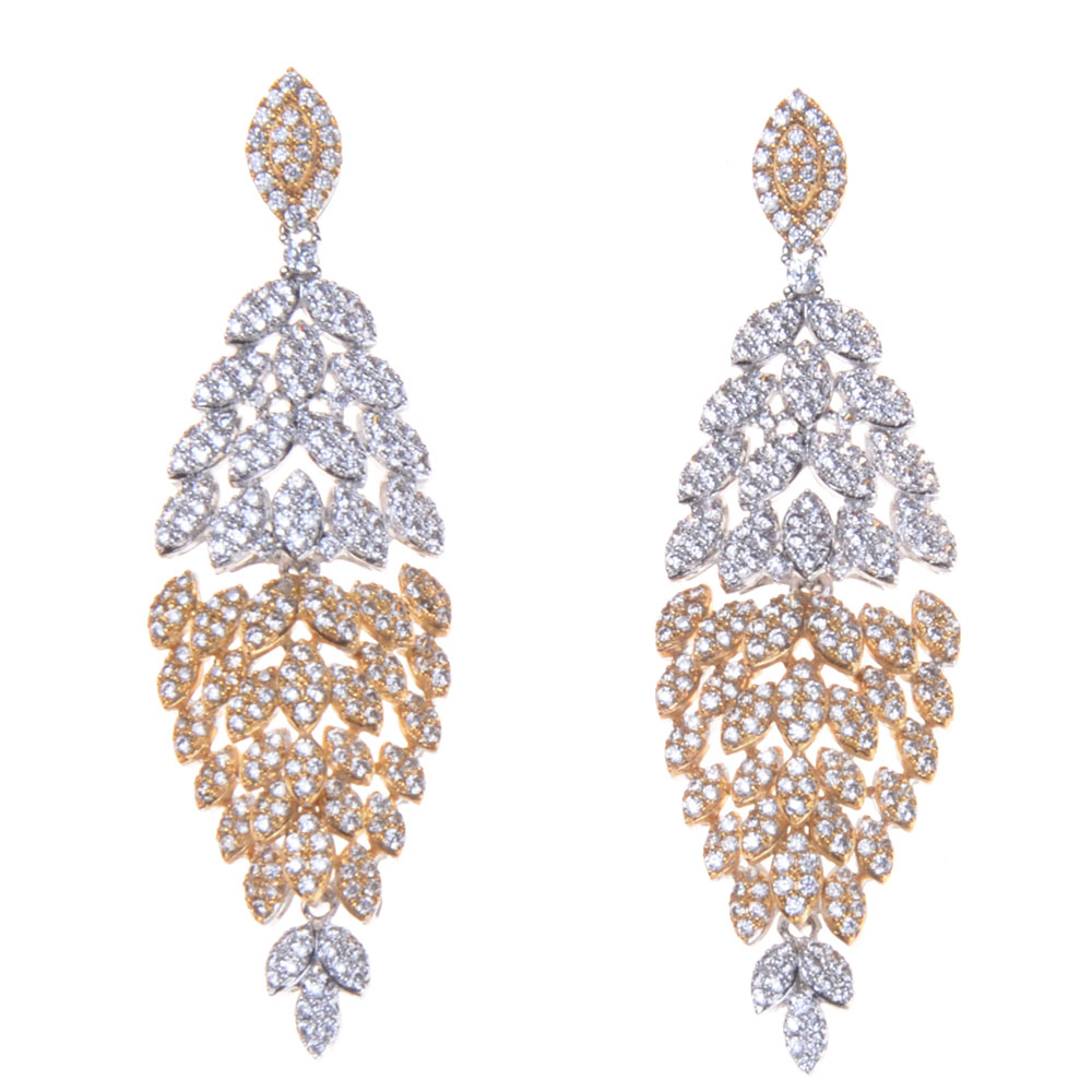 SLJELY Luxury Shiny Cubic Zirconia Earrings Gold Silver Naija Wedding Earring For Women Party Gift Fashion Jewelry