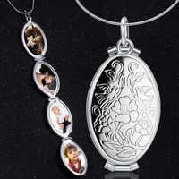 Marco de foto a la moda colgante de medallón de recuerdo collar Plata/oro romántico Vintage flor Rosa 925 joyería de Plata regalo de las mujeres