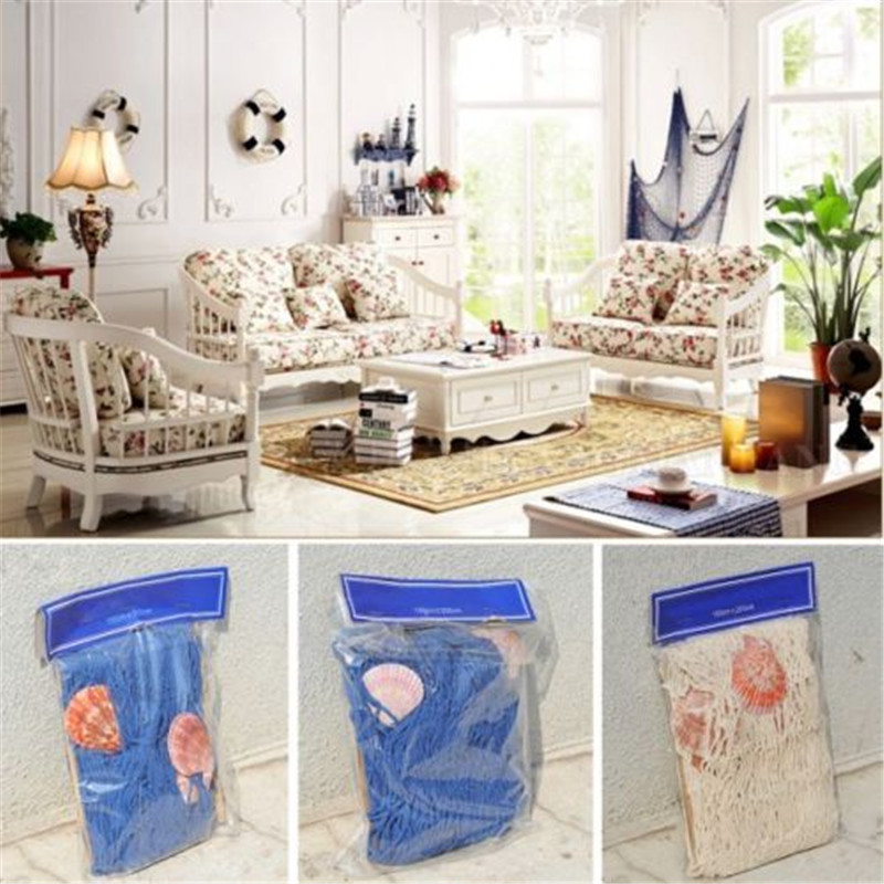High Quality Home Decoration Nautical Decorative Fishing Net Seaside Beach  Shell Party Door Wall Decoration 2M