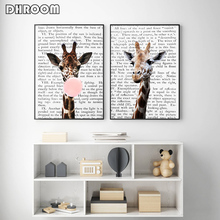 Giraffe Bubble Gum Poster Prints Nursery Wall Art Blush Pink Canvas Painting Newspaper Background Picture Decoration