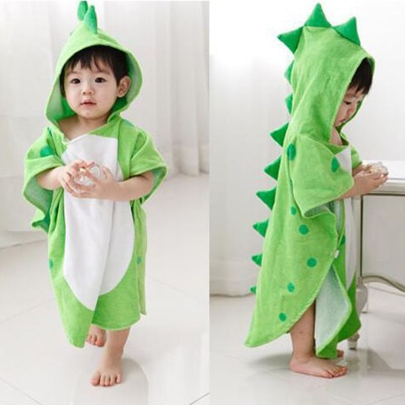 Hooded With Paw Dinosaur Ponchos Duck Bear Hooded Children's Bath Towel Kids BeachTowel Infant Bathrobe