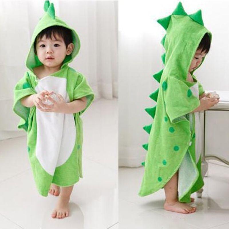 Mit kapuze Mit Pfote Dinosaurier Ponchos Mit Kapuze Kinder Bad Handtuch Kinder Strandtuch Infant Bademantel