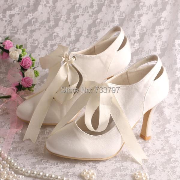 (20 Colors)Custom Handmade Ribbon Bridal Shoes Wedding Ivory Lace-up High-heeled