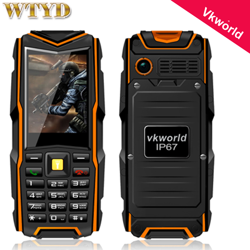 Original VKWorld Stone V3 Mobile Phone Waterproof IP67 Dustproof Dropproof 2.4 inch Dual SIM 5200mAh Russian key 6531CA 64MB