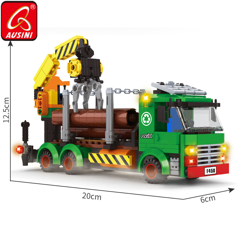 AUSINI Logging Trucks Car Construction City Building Blocks Worker Figure Bricks Toys For Children Crane Model Creator Kids Game