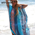 VESTLINDA Beach Dress New Fashion Women 2017 Summer Bohemian Dress V-Neck Batwing Sleeve Tribal Print Split Maxi Chiffon Dresses
